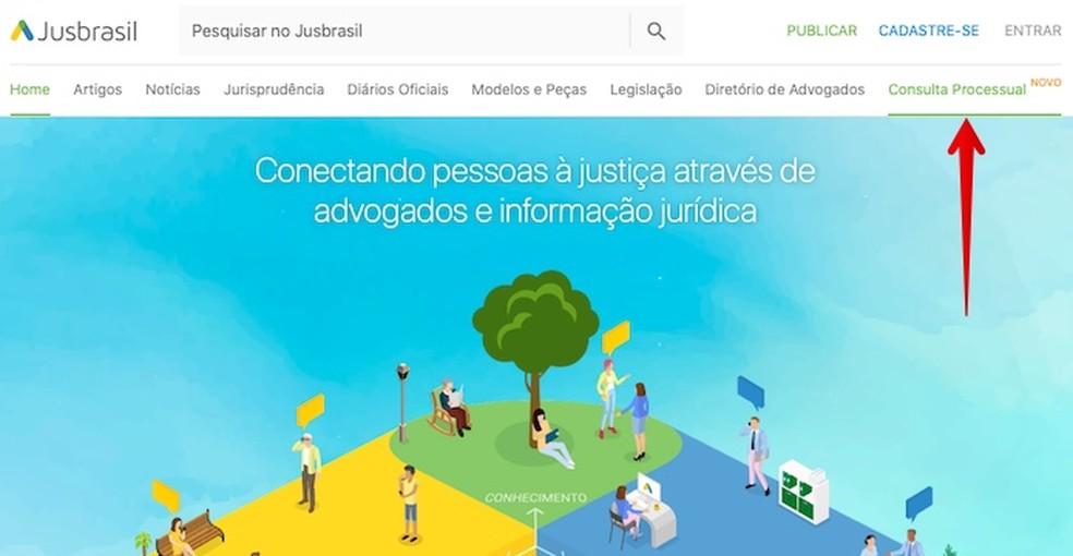 Access the Jusbrasil procedural consultation Photo: Reproduo / Helito Beggiora