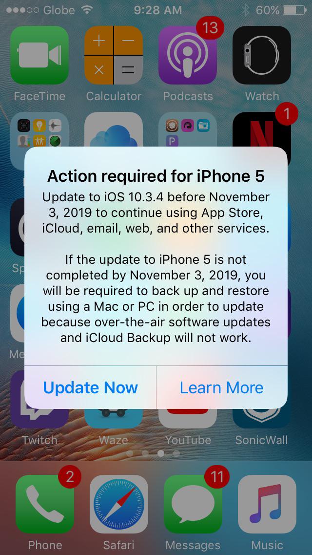 IOS 10.3.4 Alert on iPhone 5