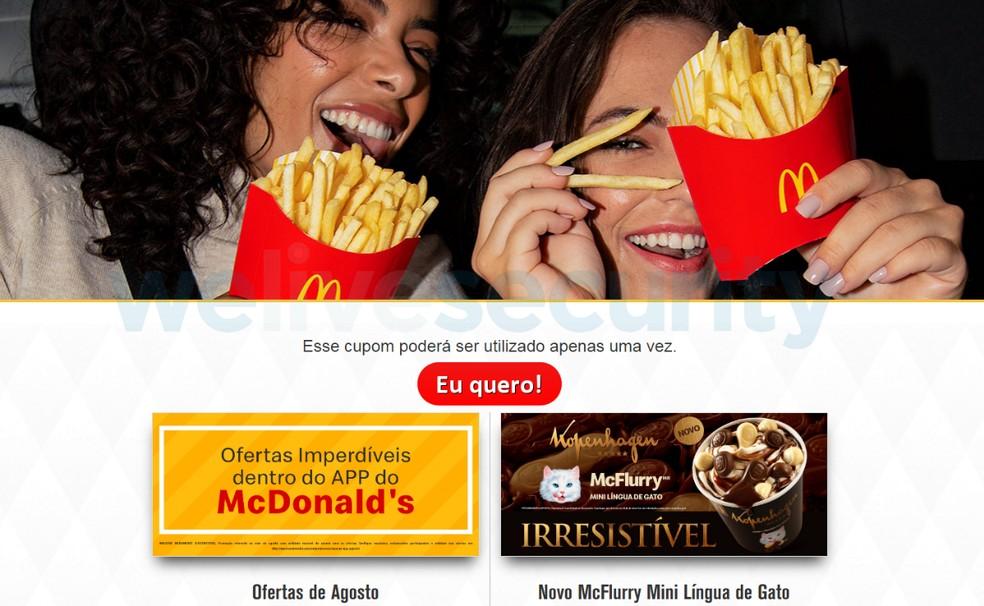 Scam promises discount coupons at McDonald's Photo: Divulgao / Eset