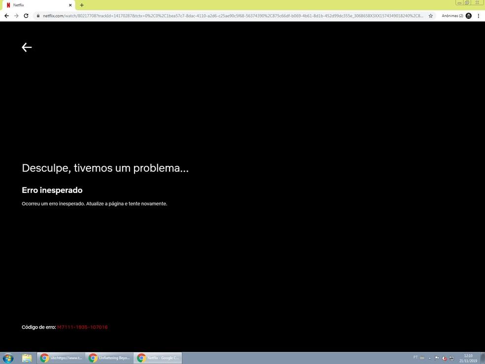 Netflix gives error to play titles Photo: Playback / TechTudo