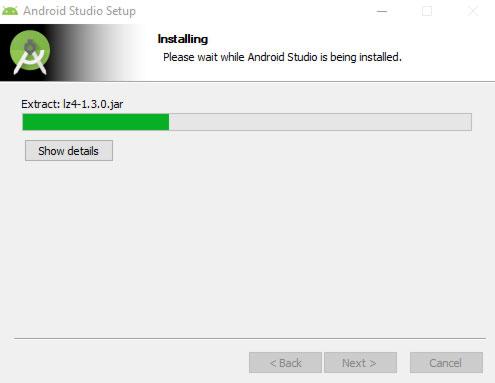 installation progress screen