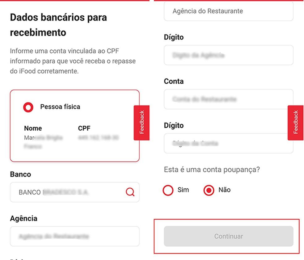 Enter bank details for iFood Transfer Photo: Play / Marcela Franco