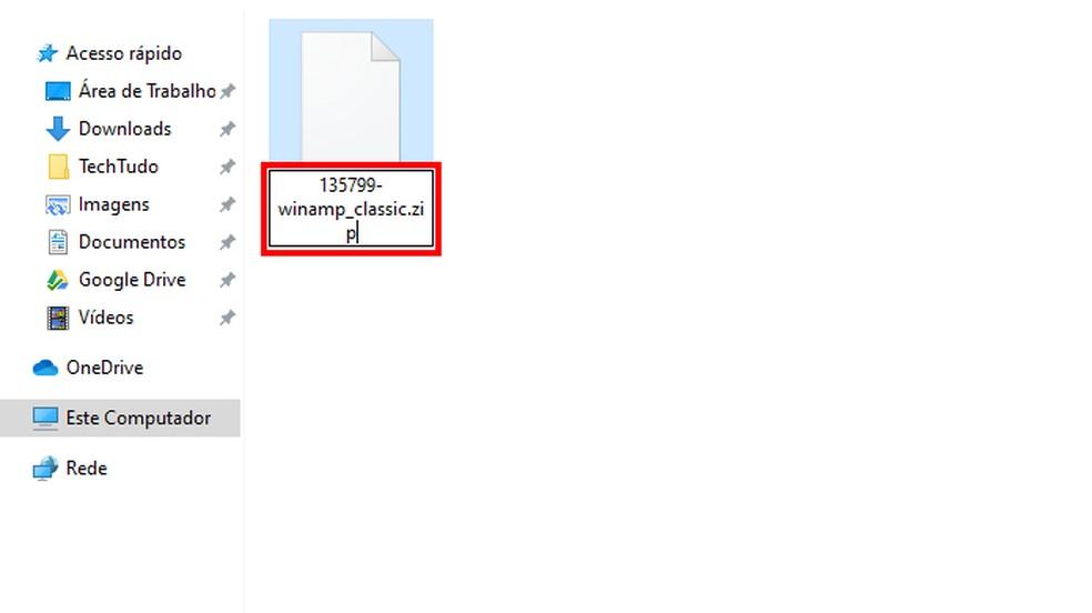 Renames the WSZ file to ZIP Photo: Reproduction / Paulo Alves