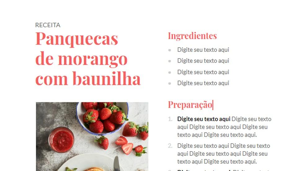 Ideal recipe model for ebooks and blogs Foto: Reproduo / Paulo Alves