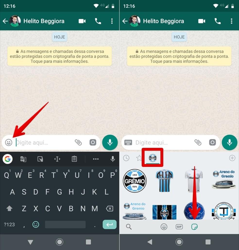 Sending Grmio stickers on WhatsApp Photo: Reproduction / Helito Beggiora