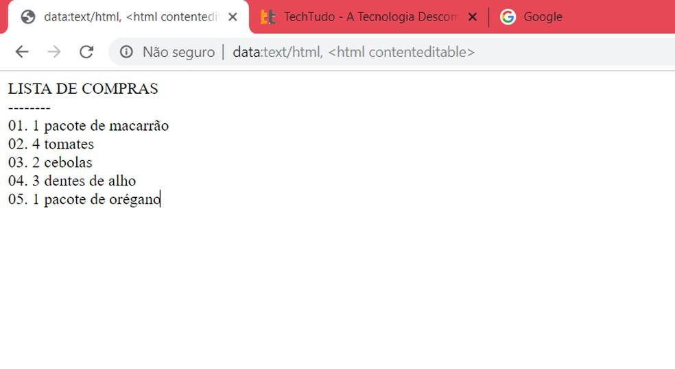 Chrome search bar works like notepad Photo: Playback / Ana Letcia Loubak