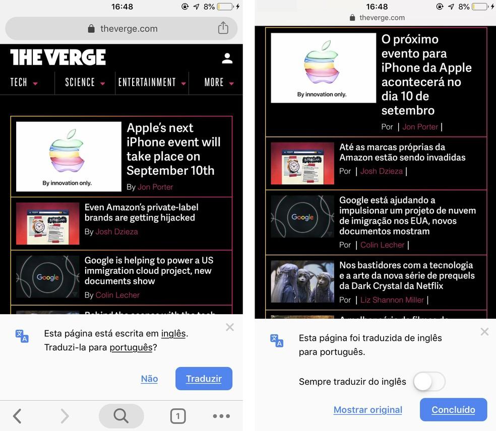 Chrome to mobile has native integration with Google Translate Photo: Reproduction / Rodrigo Fernandes