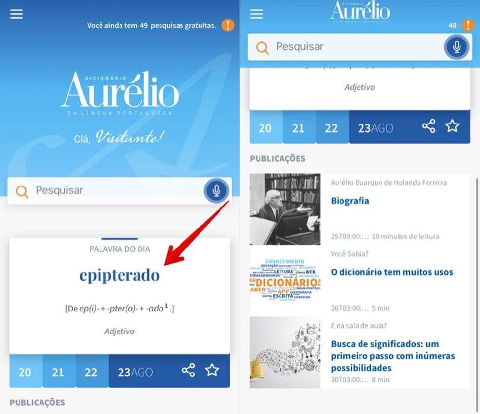 Dictionary app home screen Aurlio Digital Photo: Reproduction / Helito Beggiora