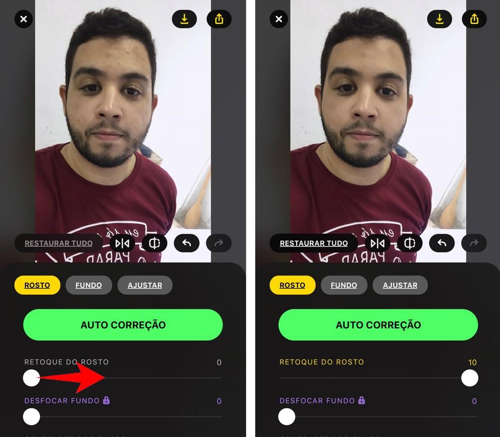 Use the sliders to make photo edits through the Lensa Foto: Playback / Rodrigo Fernandes app