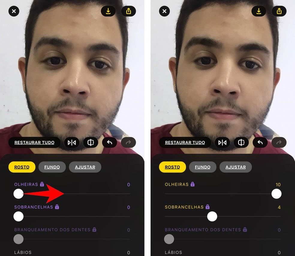 Lensa app takes dark circles of photos easily Photo: Reproduction / Rodrigo Fernandes