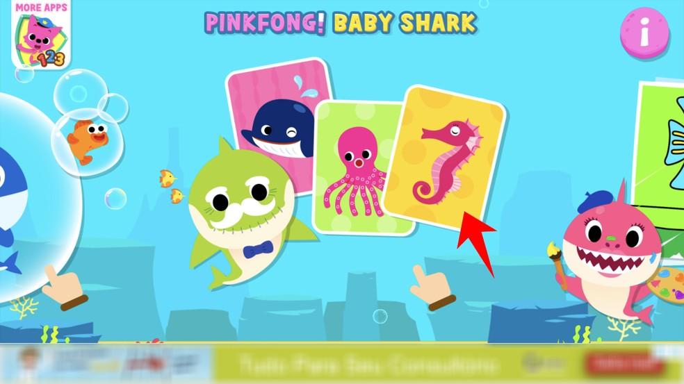 Baby Shark app has memory game with deep sea animals Photo: Reproduction / Rodrigo Fernandes