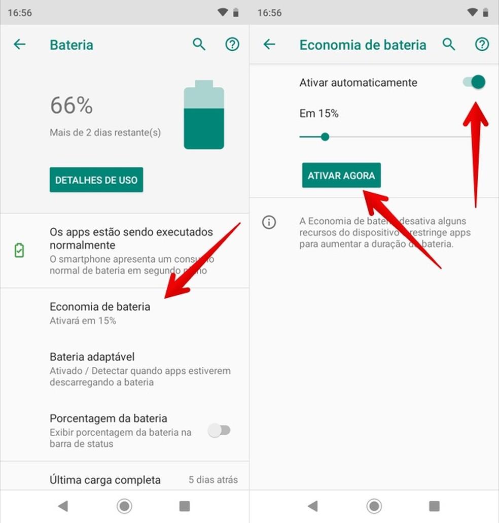 Configuring Battery Saving on Moto G7 Photo: Playback / Helito Beggiora