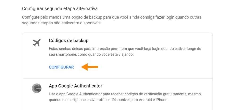 Backup Codes Are Alternate Step Two-Step Automatic Verification Photo: Playback / Ana Letcia Loubak