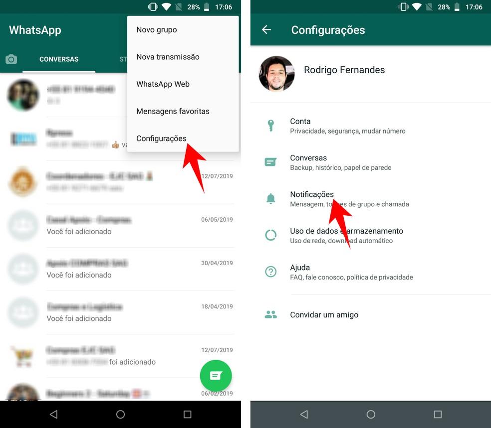 Accessing WhatsApp notification settings Photo: Reproduction / Rodrigo Fernandes