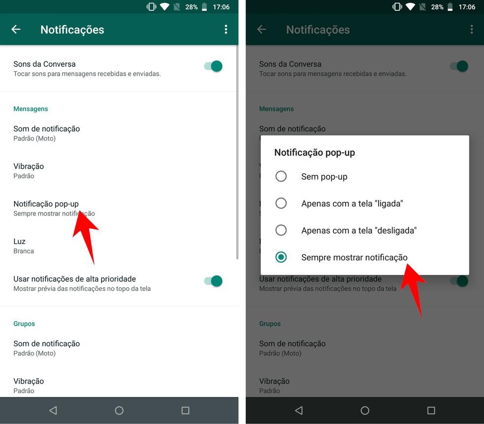 Enabling WhatsApp Notifications on Lock Screen on Android Mobile Photo: Playback / Rodrigo Fernandes