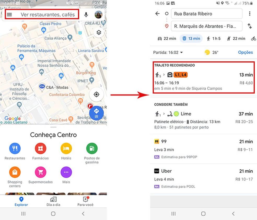 Select the public transit option to access the new Google Maps feature Photo: Playback / Fernanda Lutfi