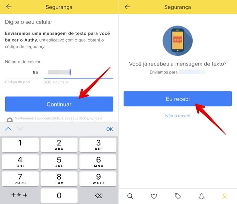 Confirm your phone at Mercado Livre to register Authy Photo: Reproduo / Helito Beggiora