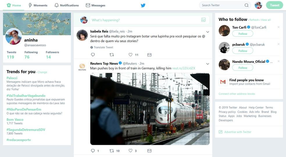GoodTwitter makes social network return previous interface Photo: Reproduction / Ana Letcia Loubak