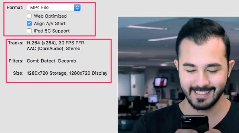 Conversion options of a preset chosen in HandBrake software Photo: Reproduction / Marvin Costa