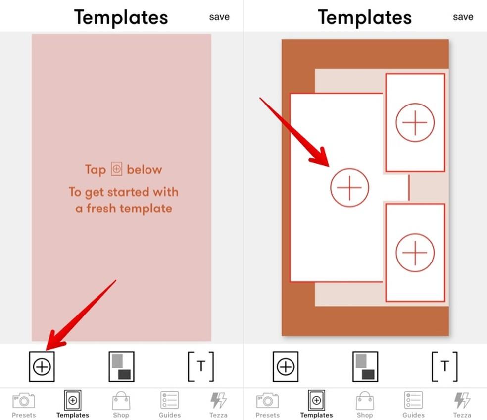 Creating a photo collage in the Tezza app Photo: Reproduction / Helito Beggiora