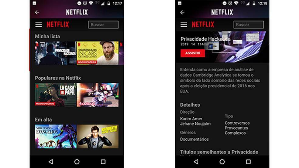 Netflix interface within Rave application Photo: Reproduo / Gabriel Santos