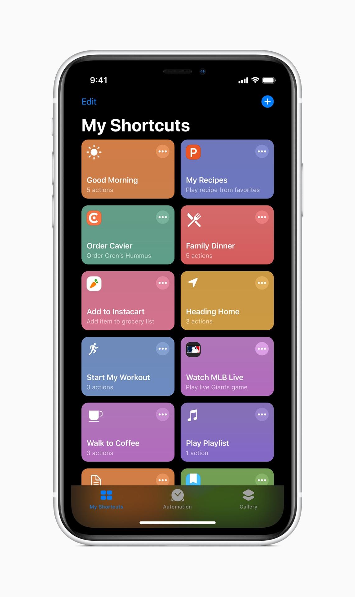 Siri shortcuts running on iOS 13