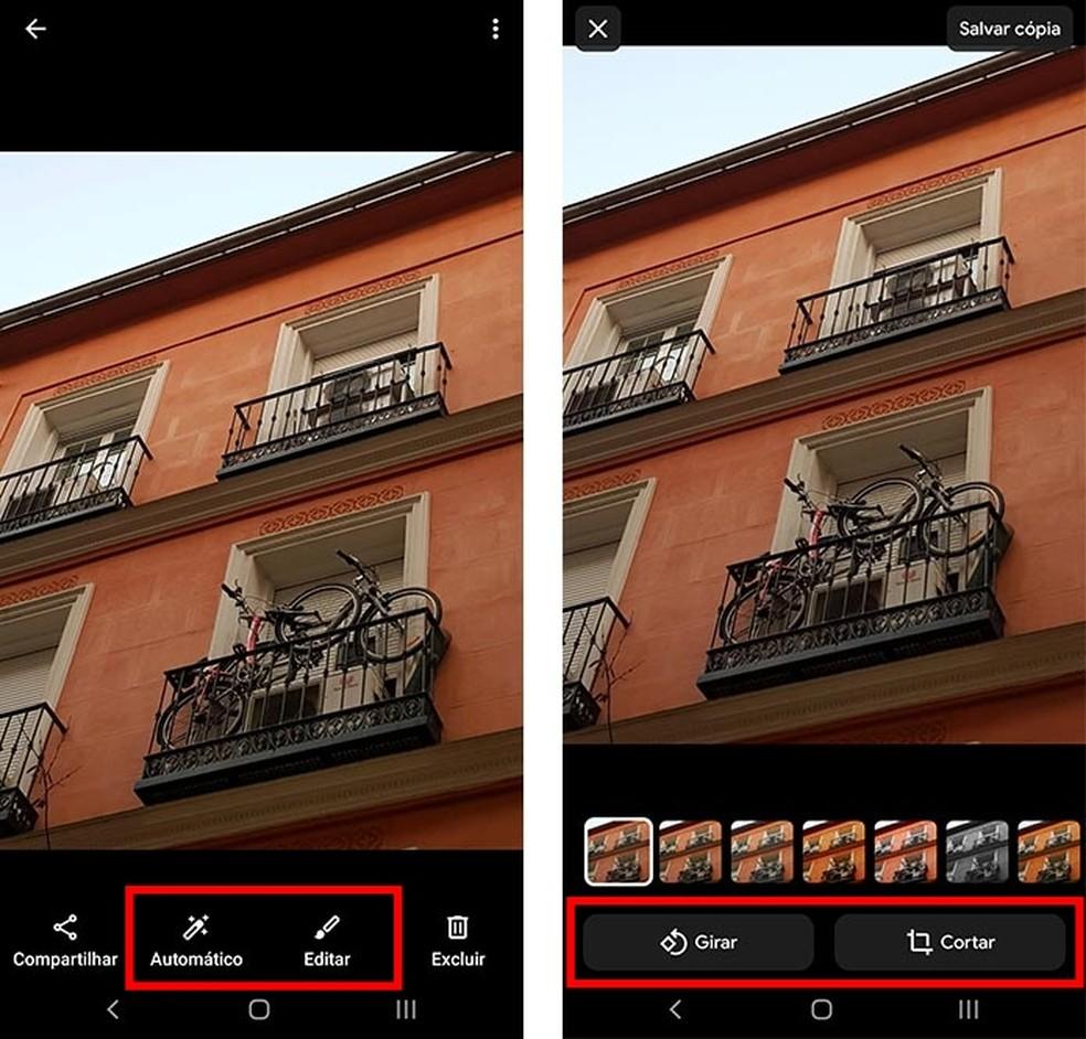 Gallery Go has simple photo editing menu Photo: Reproduction / Paulo Alves