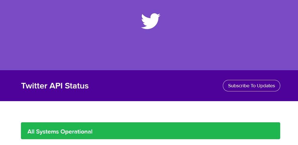 Twitter API Status indicates service availability Photo: Reproduction / Ana Letcia Loubak