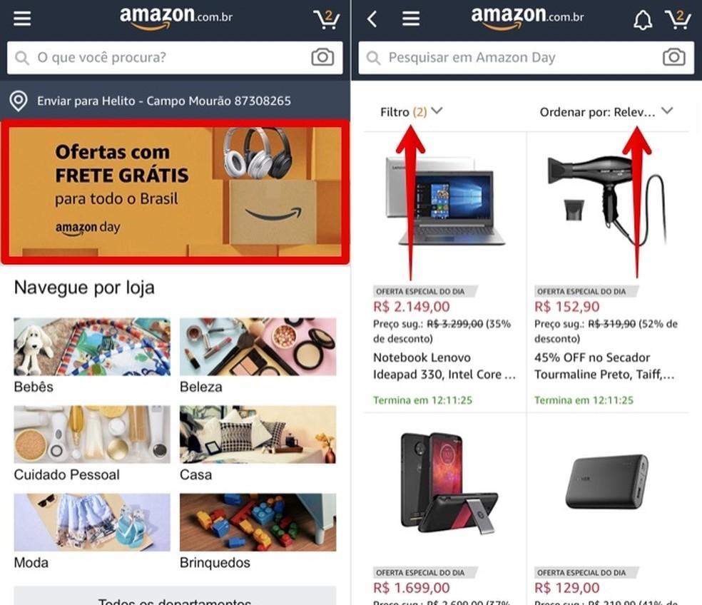 Accessing Amazon Day 2019 Deals through the Photo: Reproduction / Helito Beggiora App