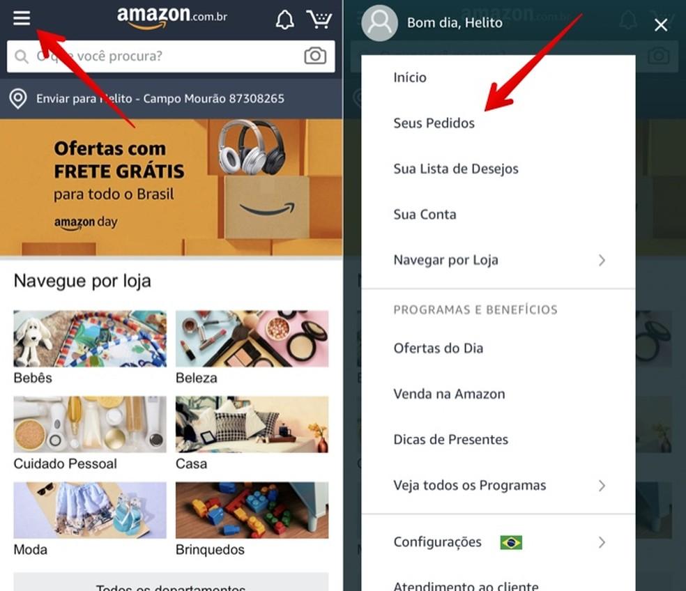 Tracking order status through Amazon app Photo: Reproduo / Helito Beggiora