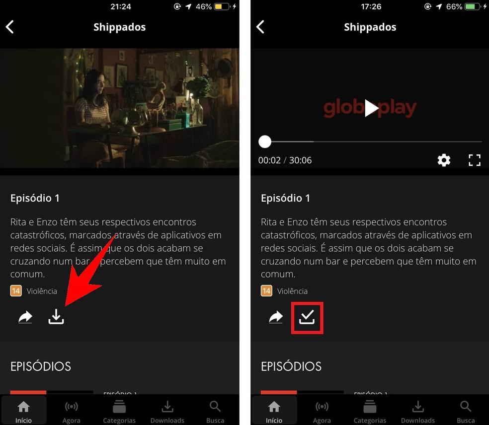 Downloading a Globoplay Series episode to watch offline Photo: Reproduction / Rodrigo Fernandes