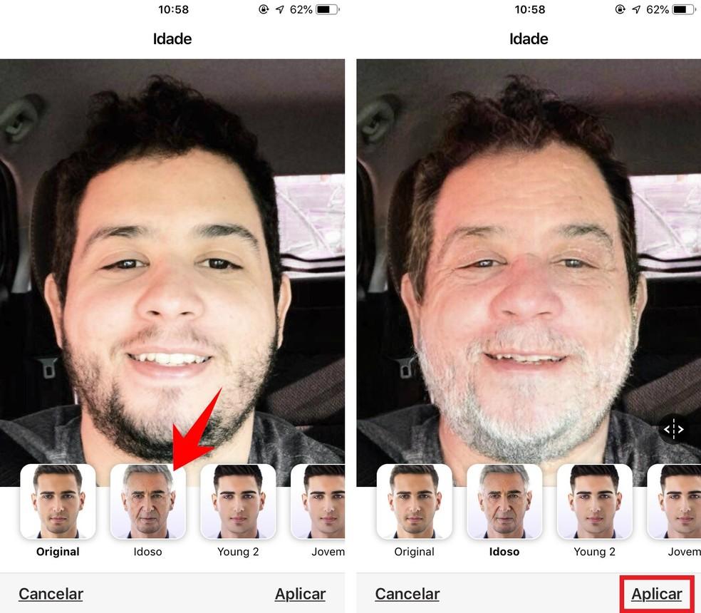 FaceApp transforms photo of the user, giving the face an elderly look Photo: Reproduction / Rodrigo Fernandes