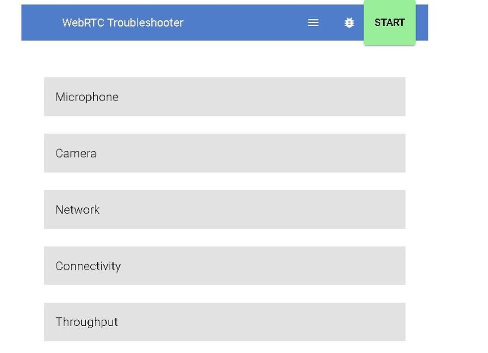 WebRTC test verifies microphone, camera and connectivity Photo: WebRTC