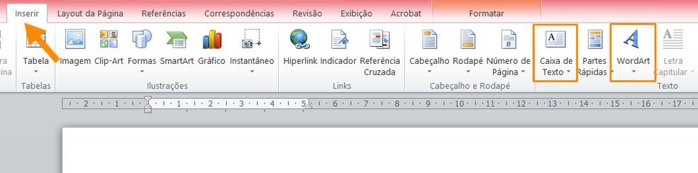 You can enter text from WordArts or text boxes. Photo: Reproduction / Ana Letcia Loubak