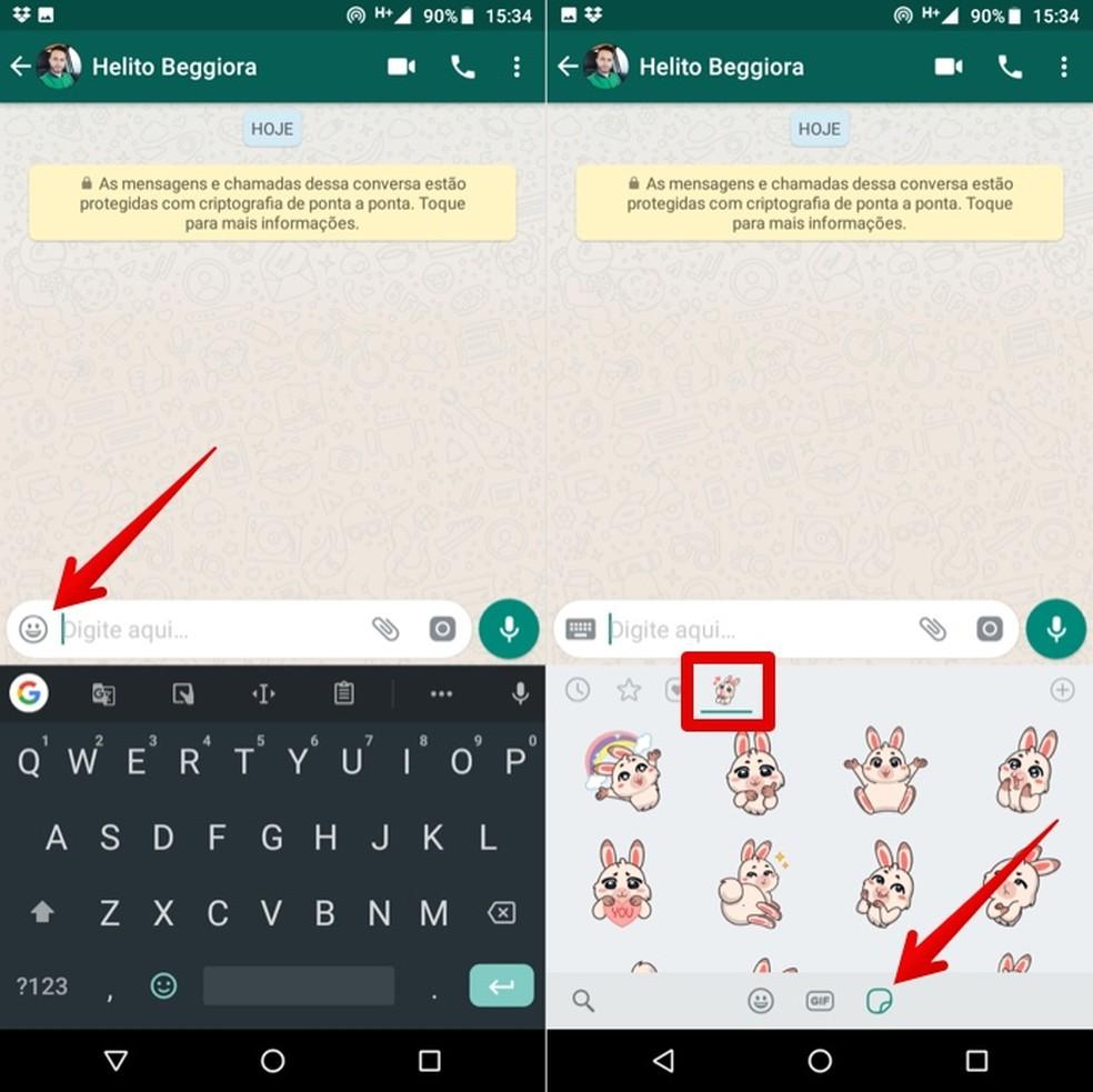 Sending cute stickers on WhatsApp Photo: Reproduction / Helito Beggiora