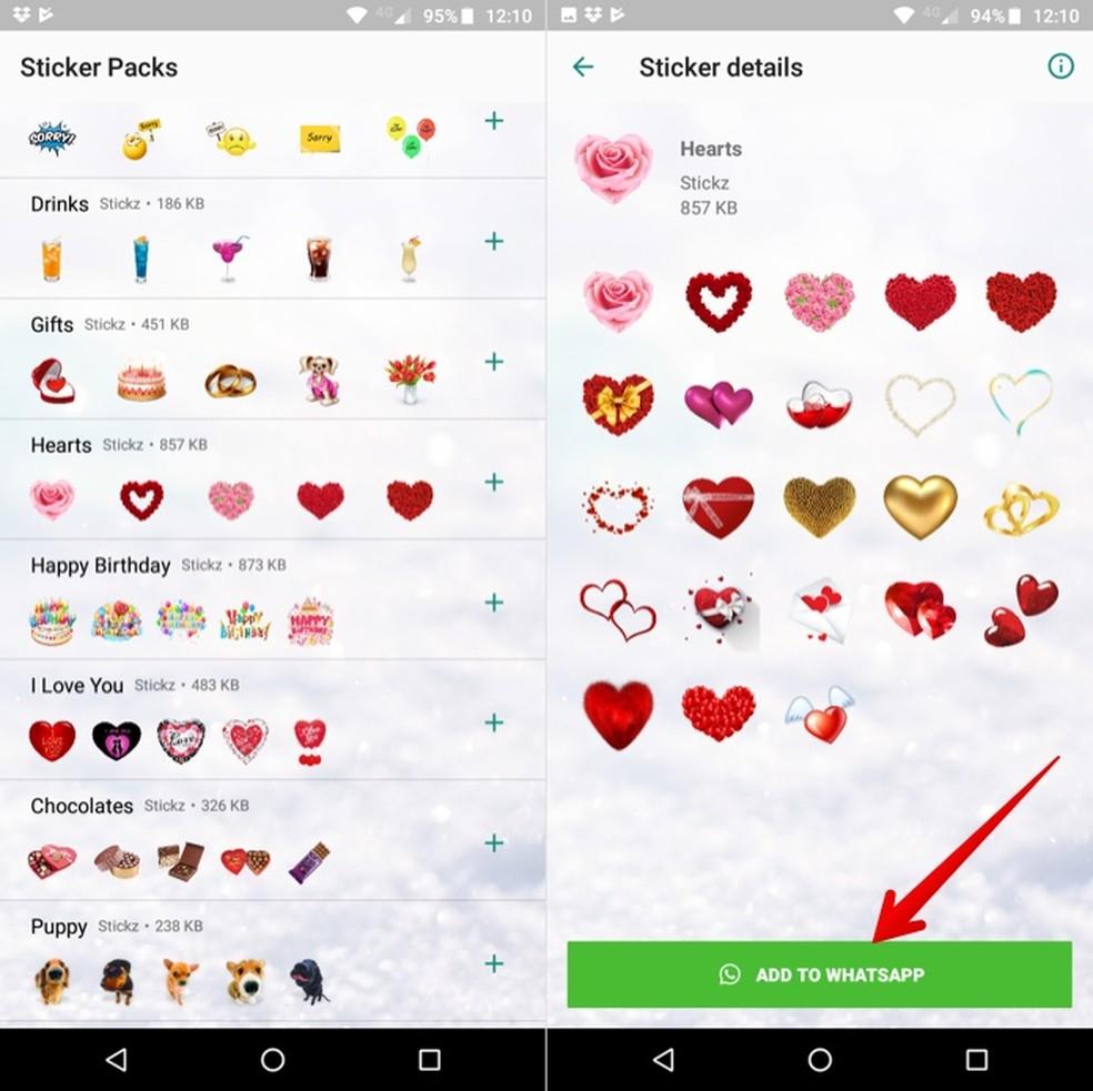 Installing heart sticker pack on WhatsApp Photo: Reproduction / Helito Beggiora