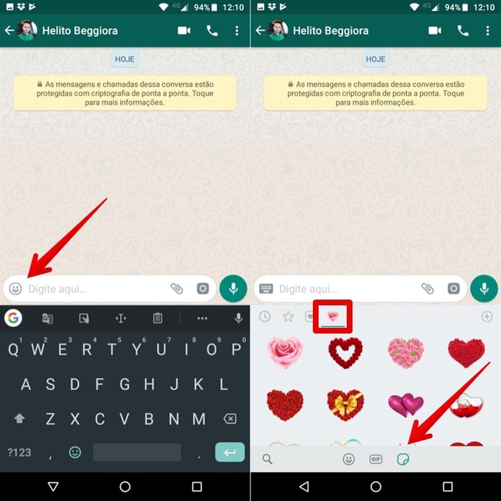Sending heart stickers on WhatsApp Photo: Reproduction / Helito Beggiora