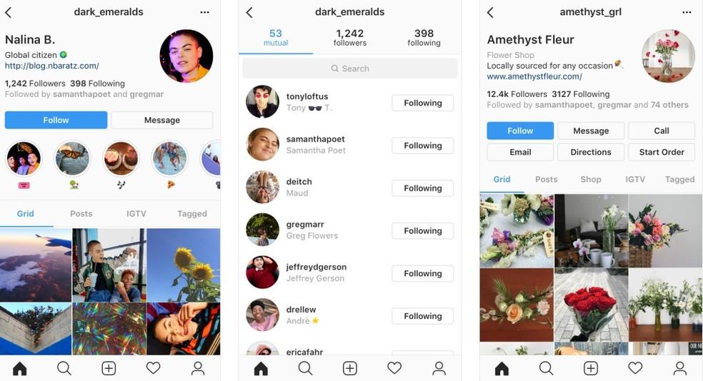 Initial test of new Instagram profile layout Photo: Divulgao / Instagram