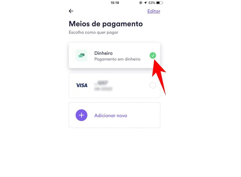 Activate the cash payment option before requesting a race Photo: Reproduction / Rodrigo Fernandes