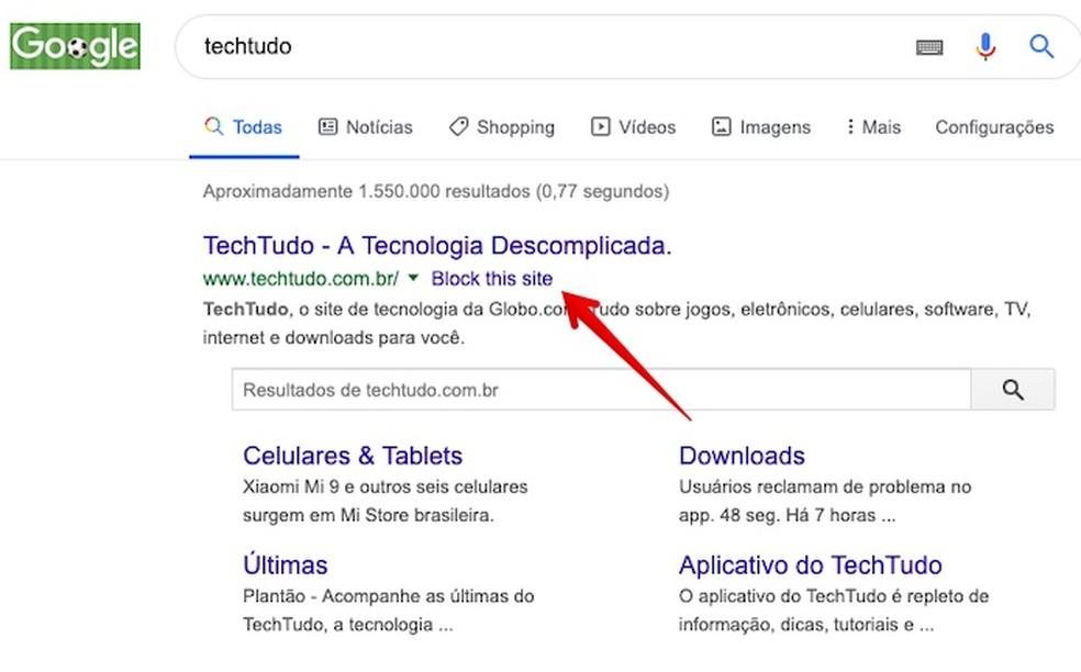Blocking site in search results Photo: Reproduction / Helito Beggiora