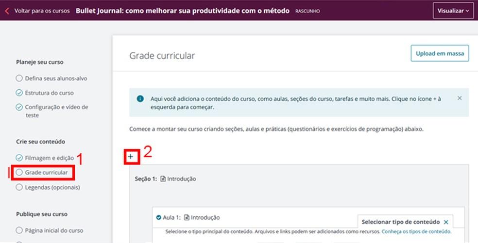 Set up your course curriculum Photo: Reproduo / Mariana Coutinho