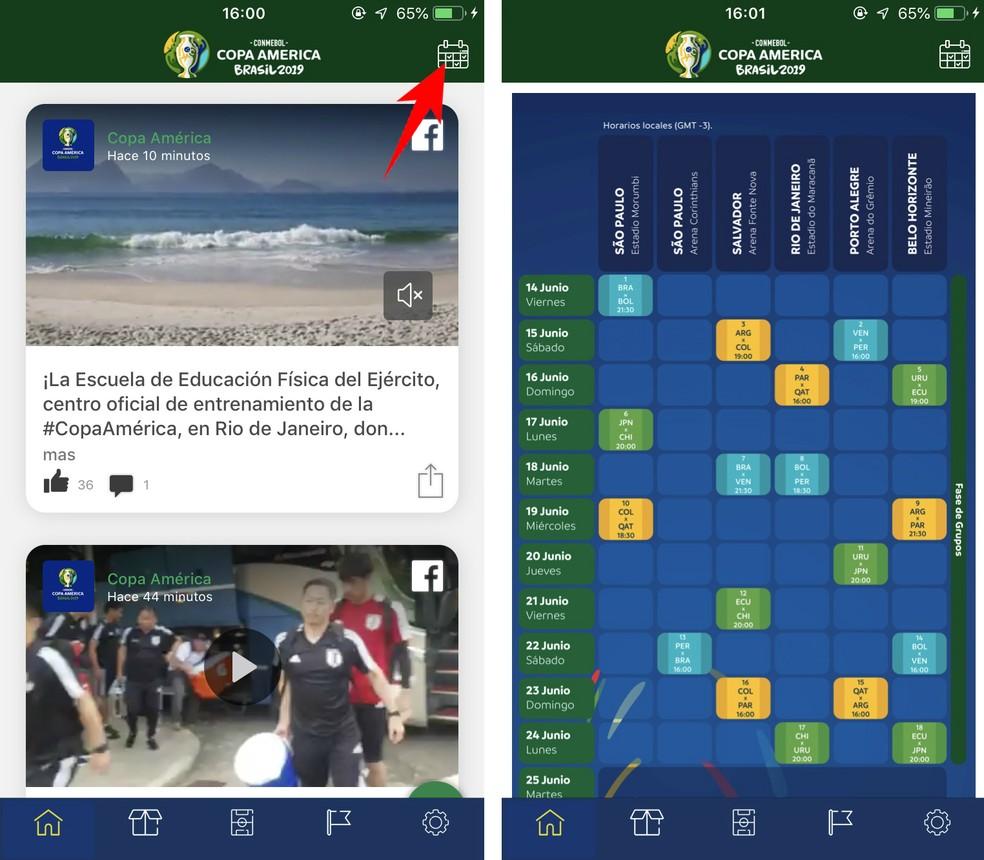 2019 Copa America app has full competition calendar Photo: Reproduction / Rodrigo Fernandes