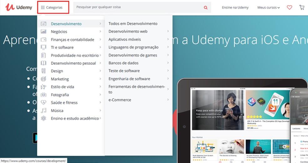 Browse courses by catergorias Photo: Reproduo / Mariana Coutinho