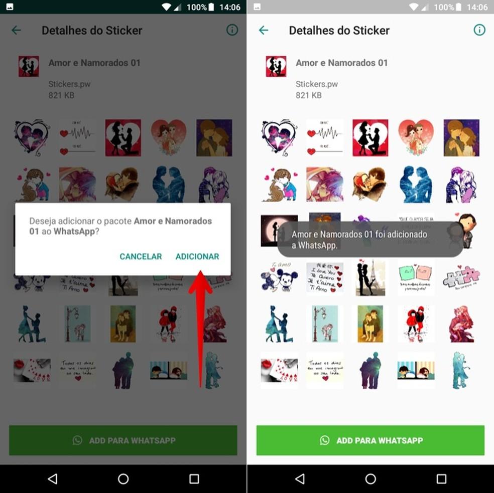 Installing sticker pack on WhatsApp Photo: Reproduction / Helito Beggiora