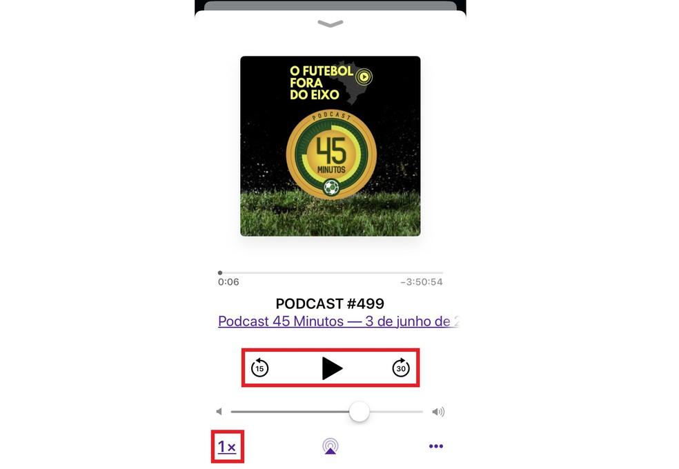Apple Podcasts Player Speeds Up Audio Playback to Listen Faster Photo: Playback / Rodrigo Fernandes