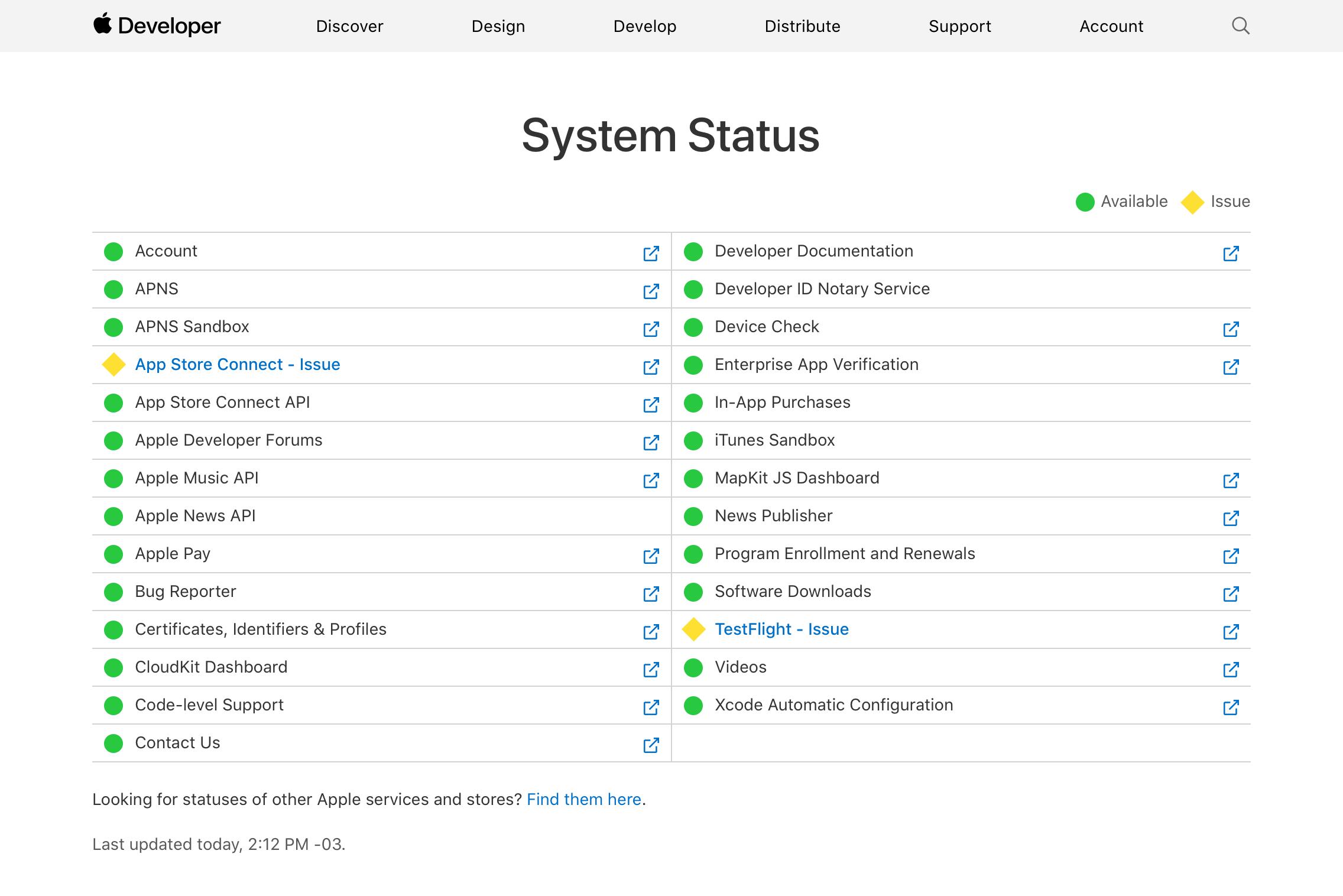 Apple services failed