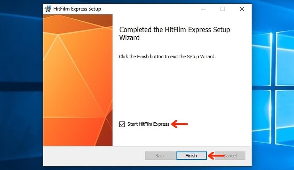 HitFilm Express installation finished on Windows 10 Photo: Playback / Raquel Freire