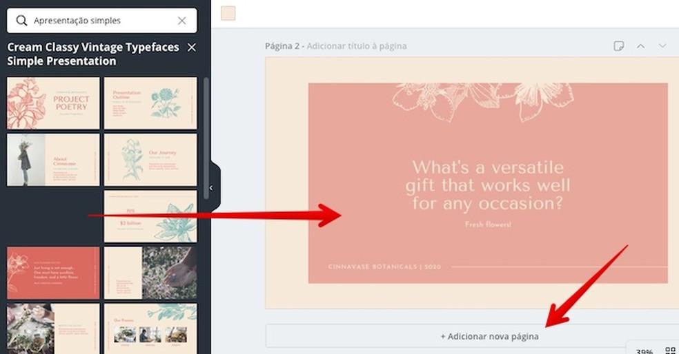 Adding new slides to an online presentation Photo: Play / Helito Beggiora