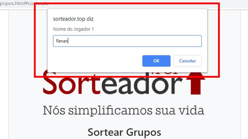 Enter group players names Photo: Reproduo / Giulia Arajo