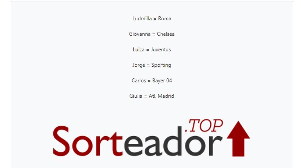 """Final result """"Sortear Fifa"""" Photo: Reproduo / Giulia Arajo"""